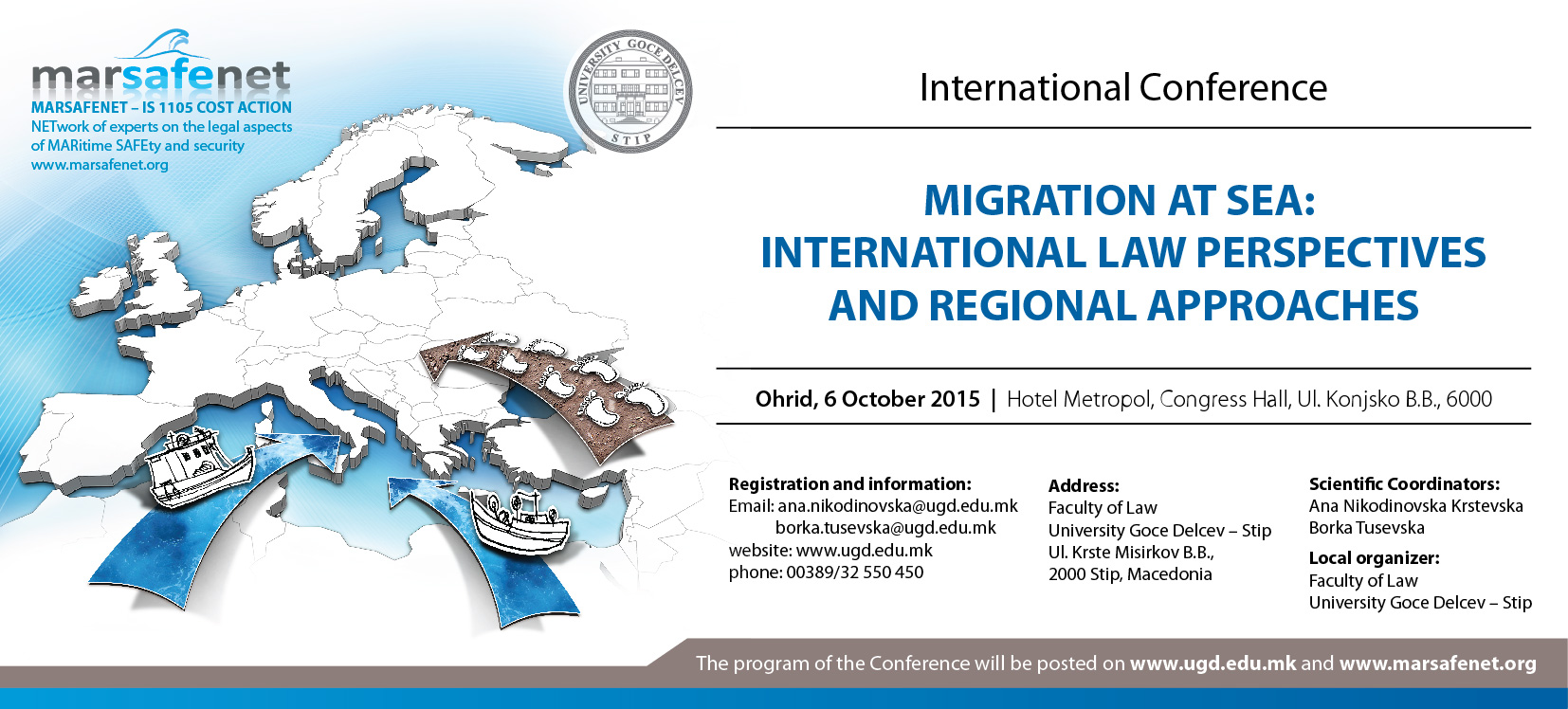 """""""Migrations at Sea: International Law Perspectives and regional Approaches"""" 6 ottobre 2015, Ohrid (Macedonia)"""