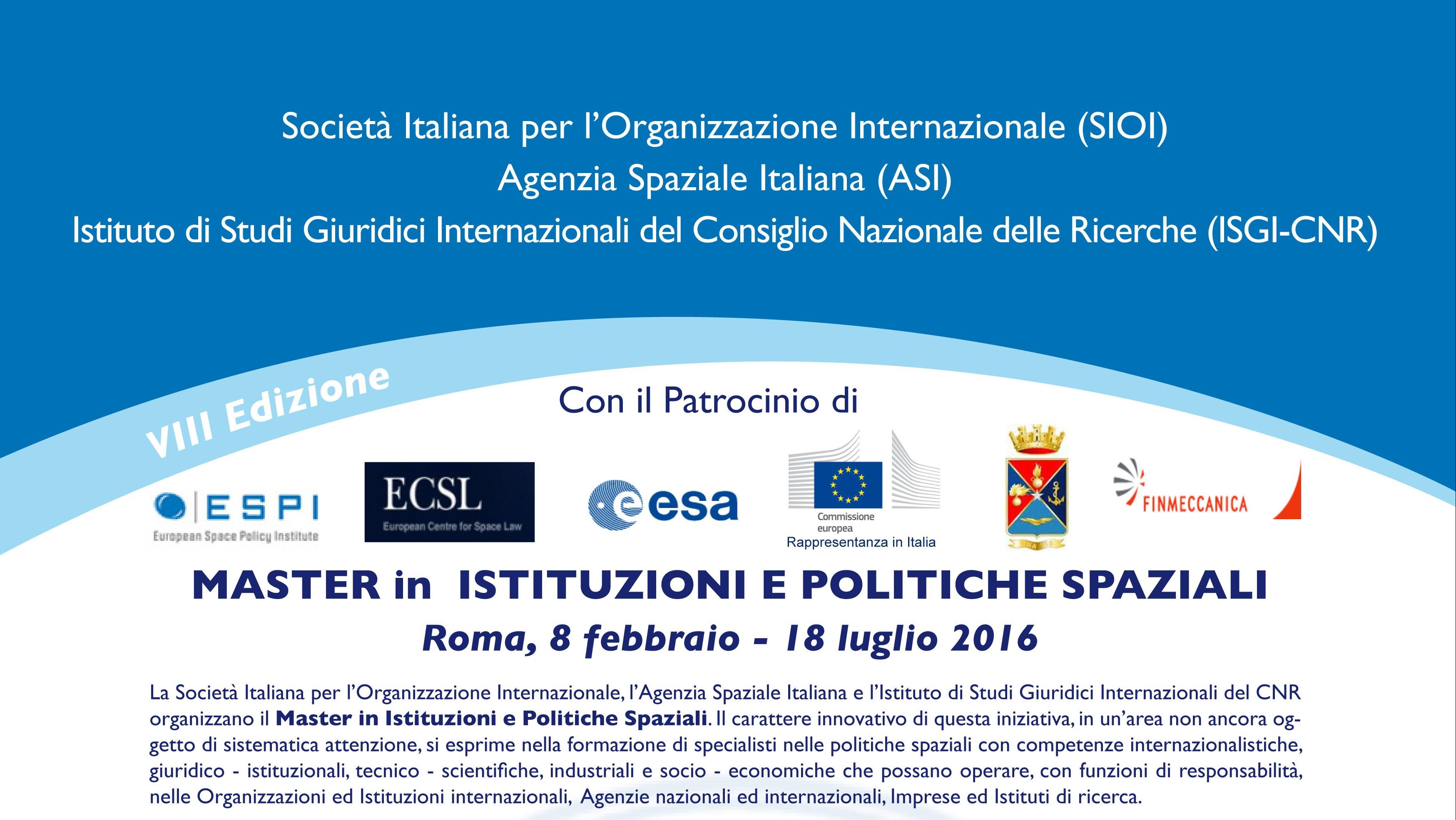 Master sulle Istituzioni e Politiche Spaziali – Roma, 8 febbraio – 18 luglio 2016