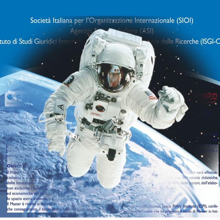 """Master in """"Istituzioni e politiche spaziali"""" Roma 14 febbraio-17 luglio 2017"""