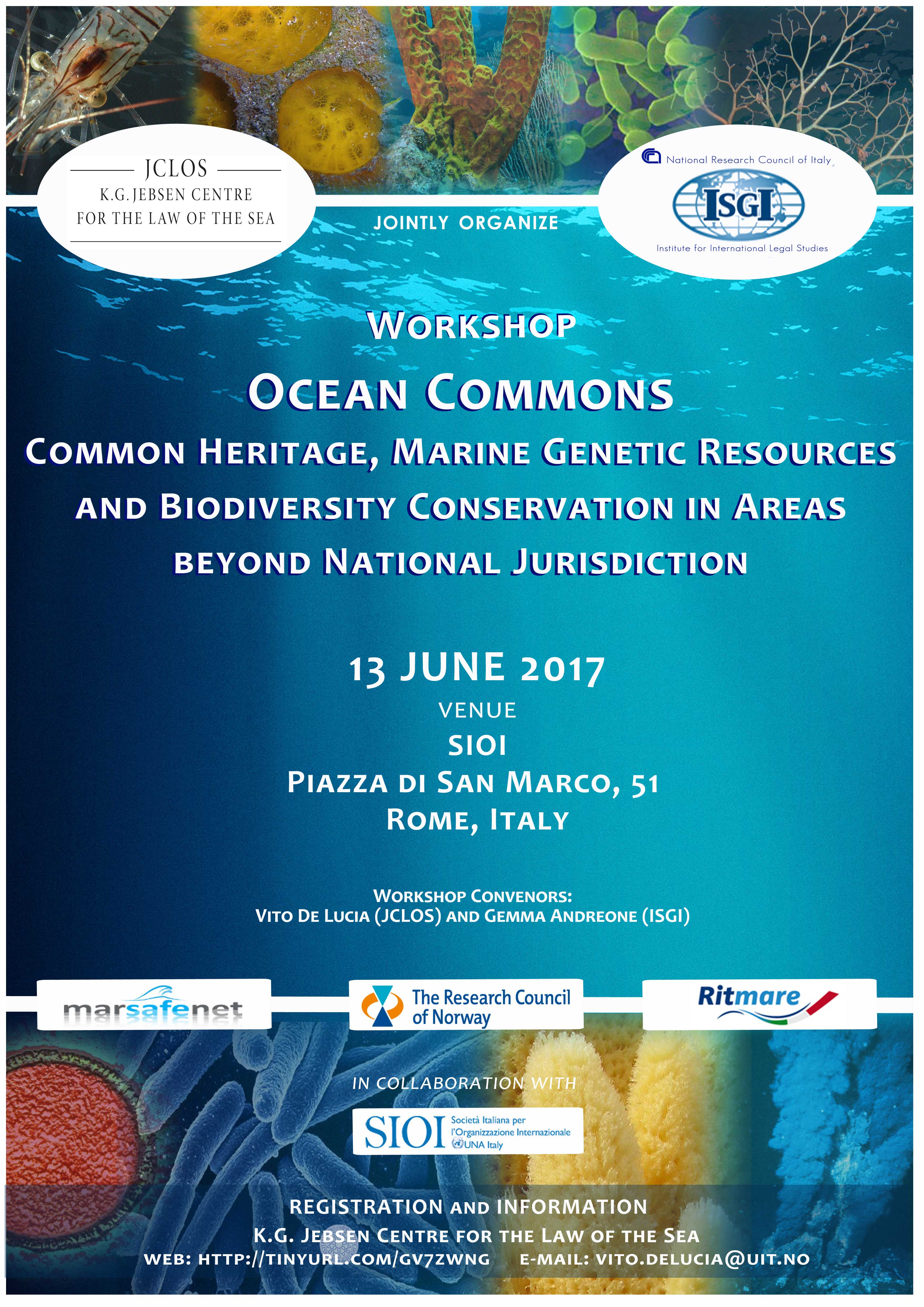 "Workshop ""Ocean Commons. Common Heritage, Marine Genetic Resources and Biodiversity Conservation in Areas beyond National Jurisdiction"" 13 June 2017, Rome"