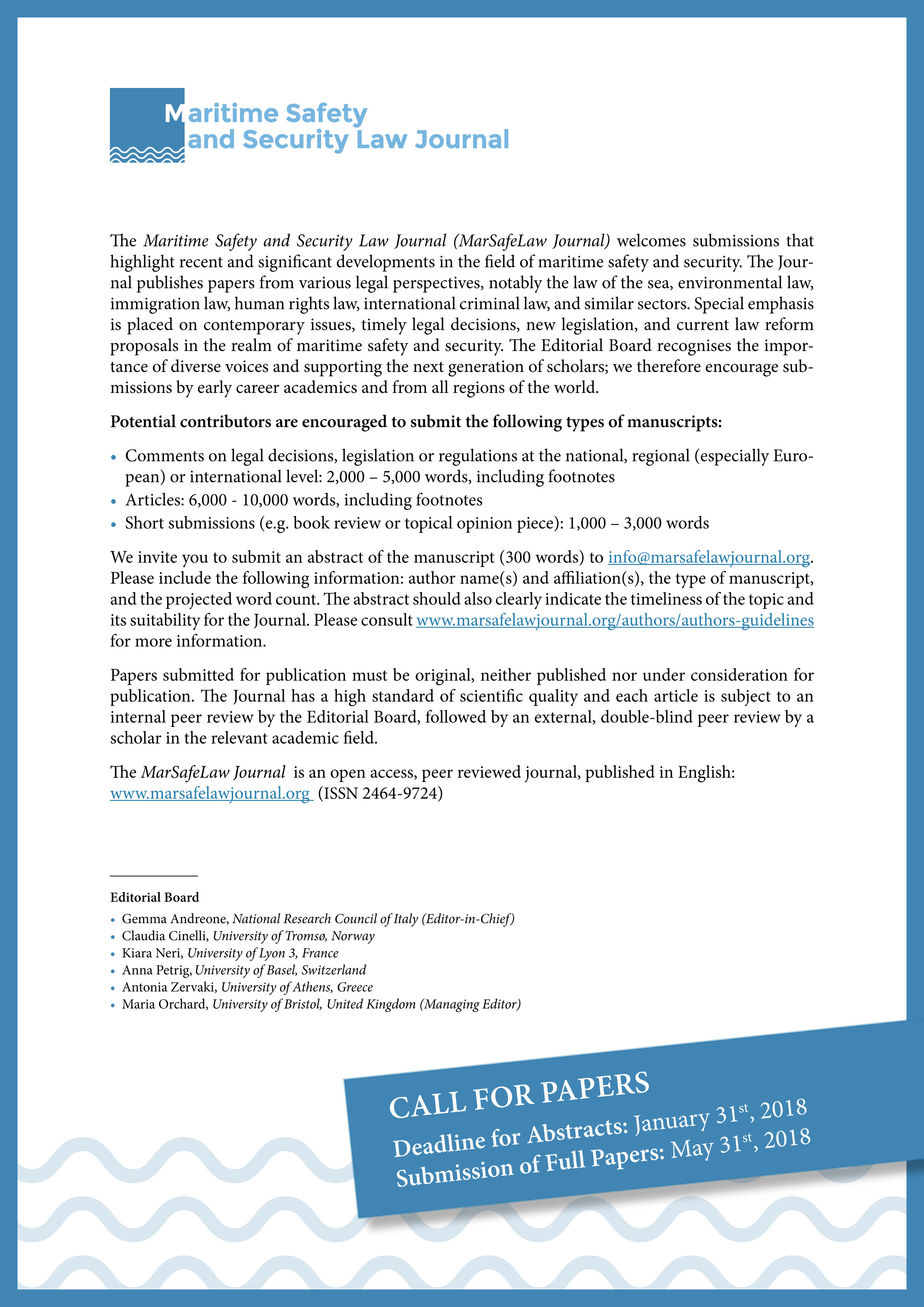 Call for papers. MarSafeLaw Journal. Issue n. 5. Deadline: 31 January 2018