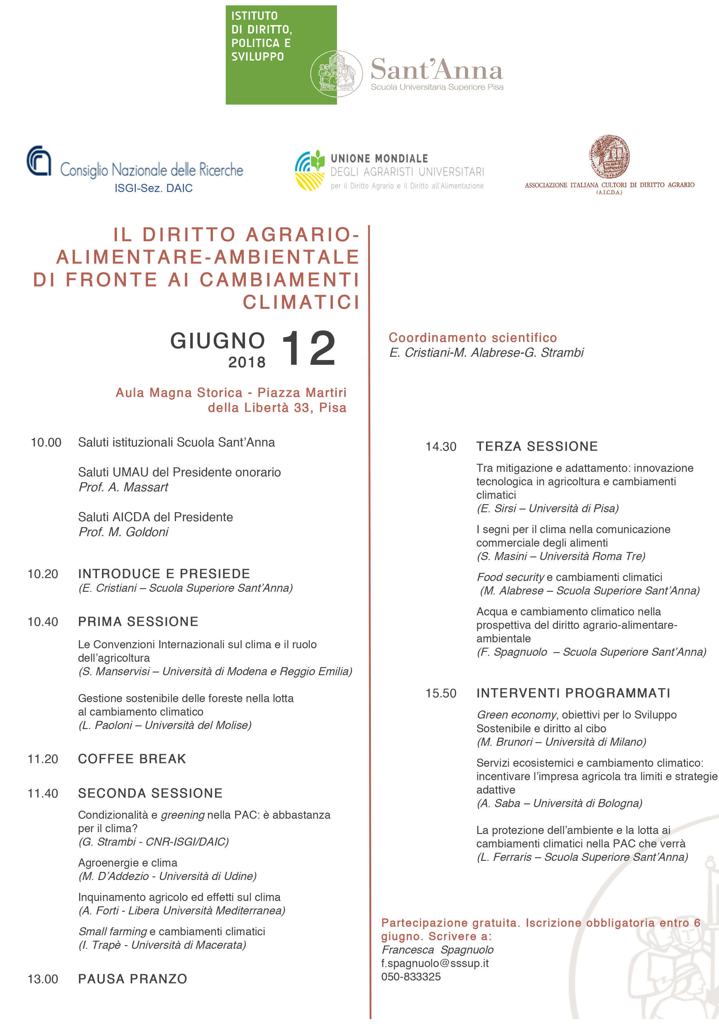 Diritto agrario - alimentare - ambientale di fronte ai cambiamenti climatici 12 giugno 2018, Pisa