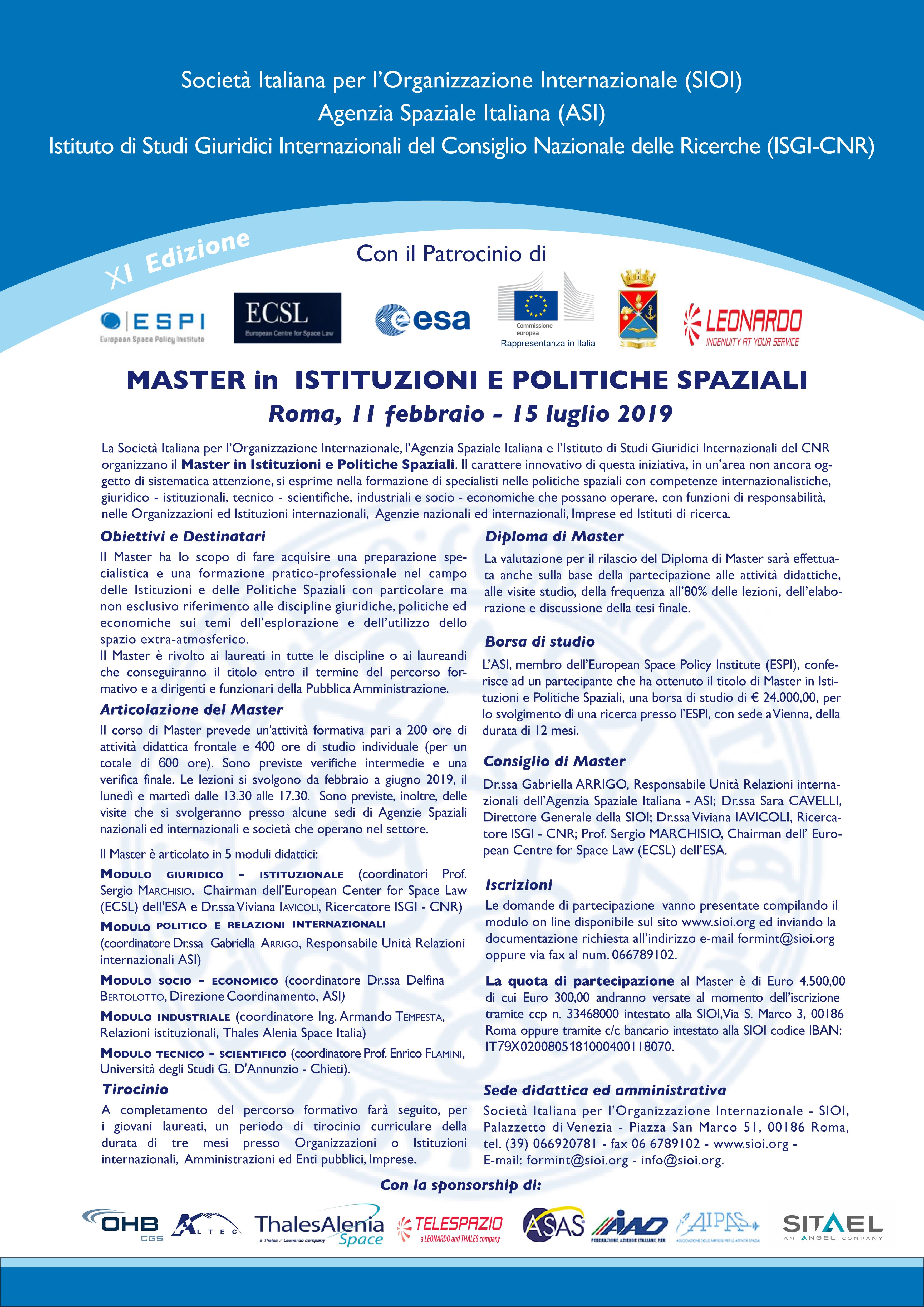 XI Master in Istituzioni e Politiche Spaziali 11 febbraio - 15 luglio 2019