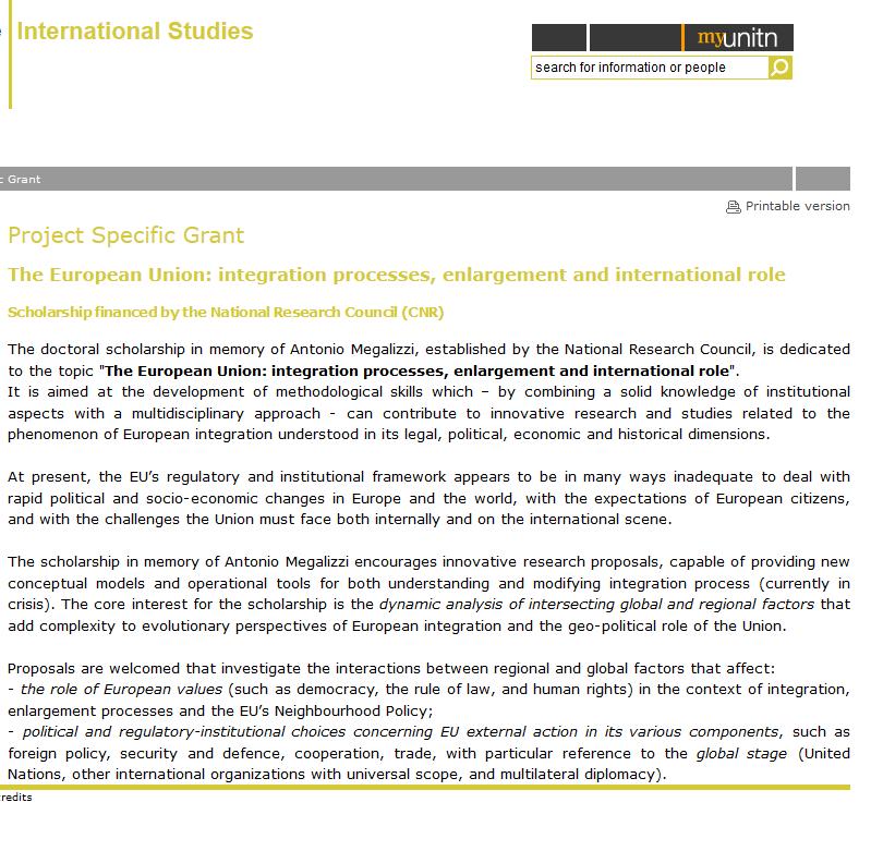 Borsa di studio del CNR nell'ambito del Dottorato di Ricerca in Studi Internazionali dell'Università di Trento