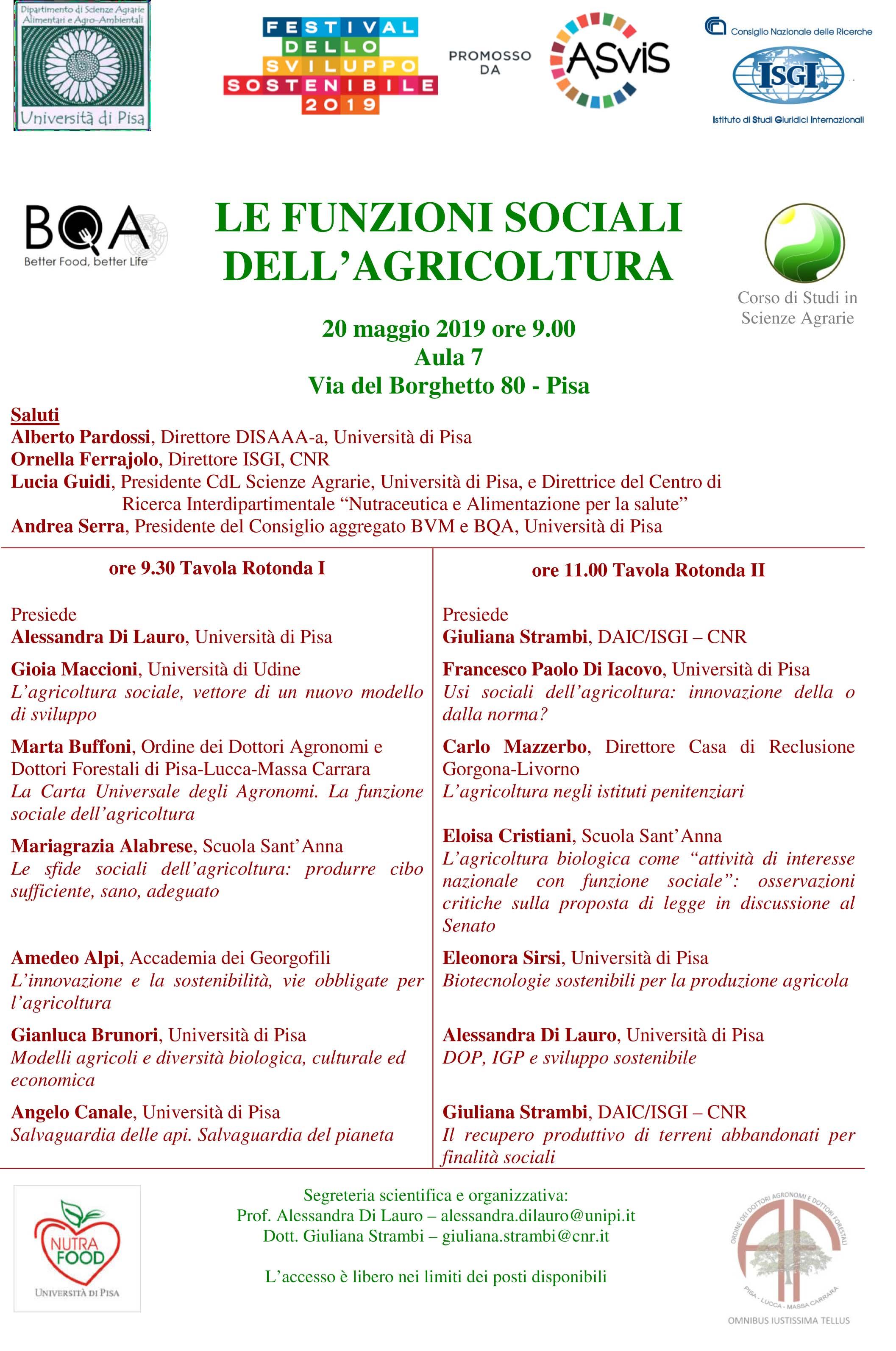 Le funzioni sociali dell'agricoltura 20 maggio 2019, Pisa