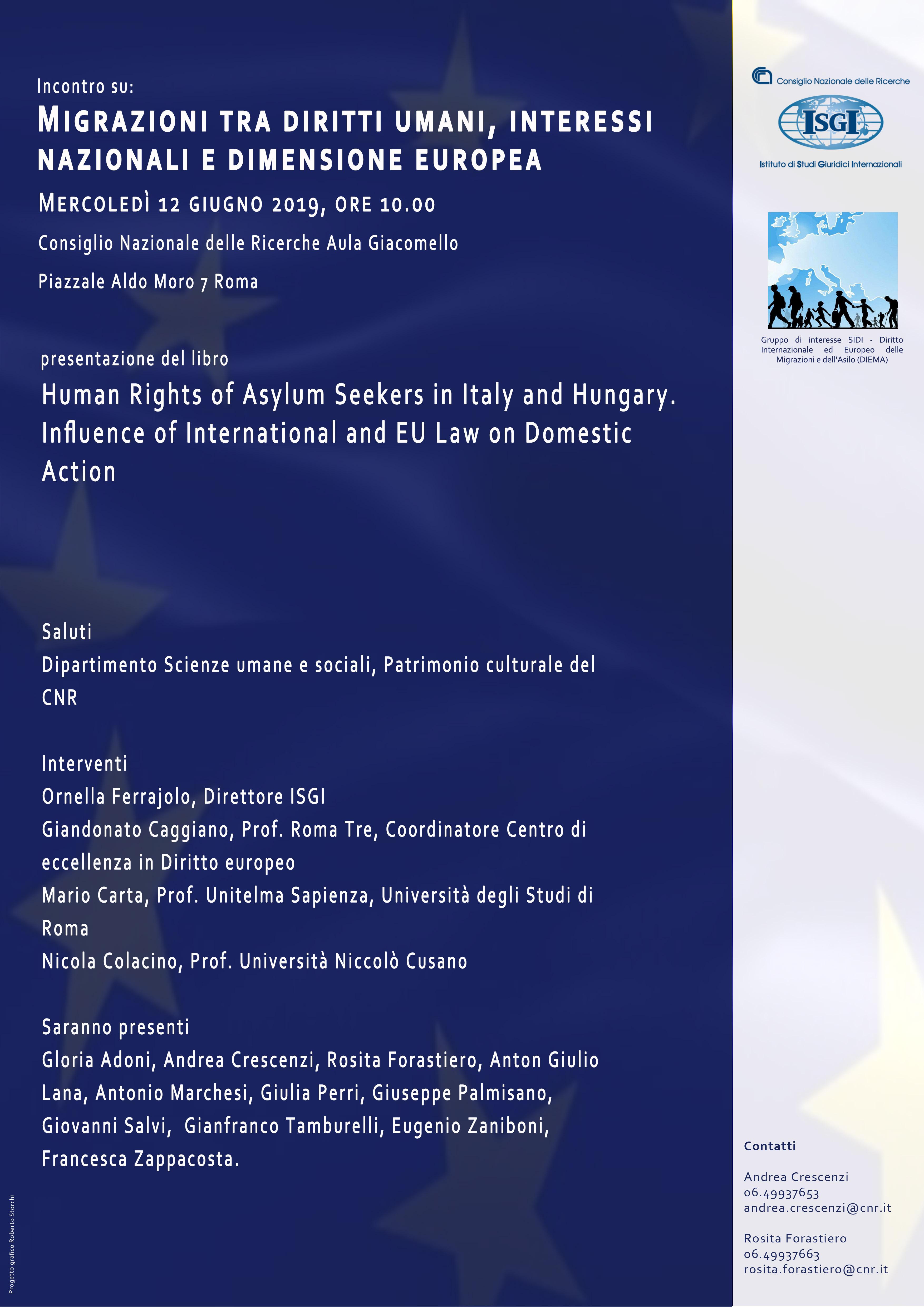 Migrazioni tra diritti umani, interessi nazionali e dimensione europea 12 giugno 2019, Roma
