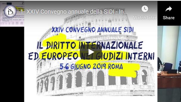 Contributi video del XXIV Convegno SIDI 2019
