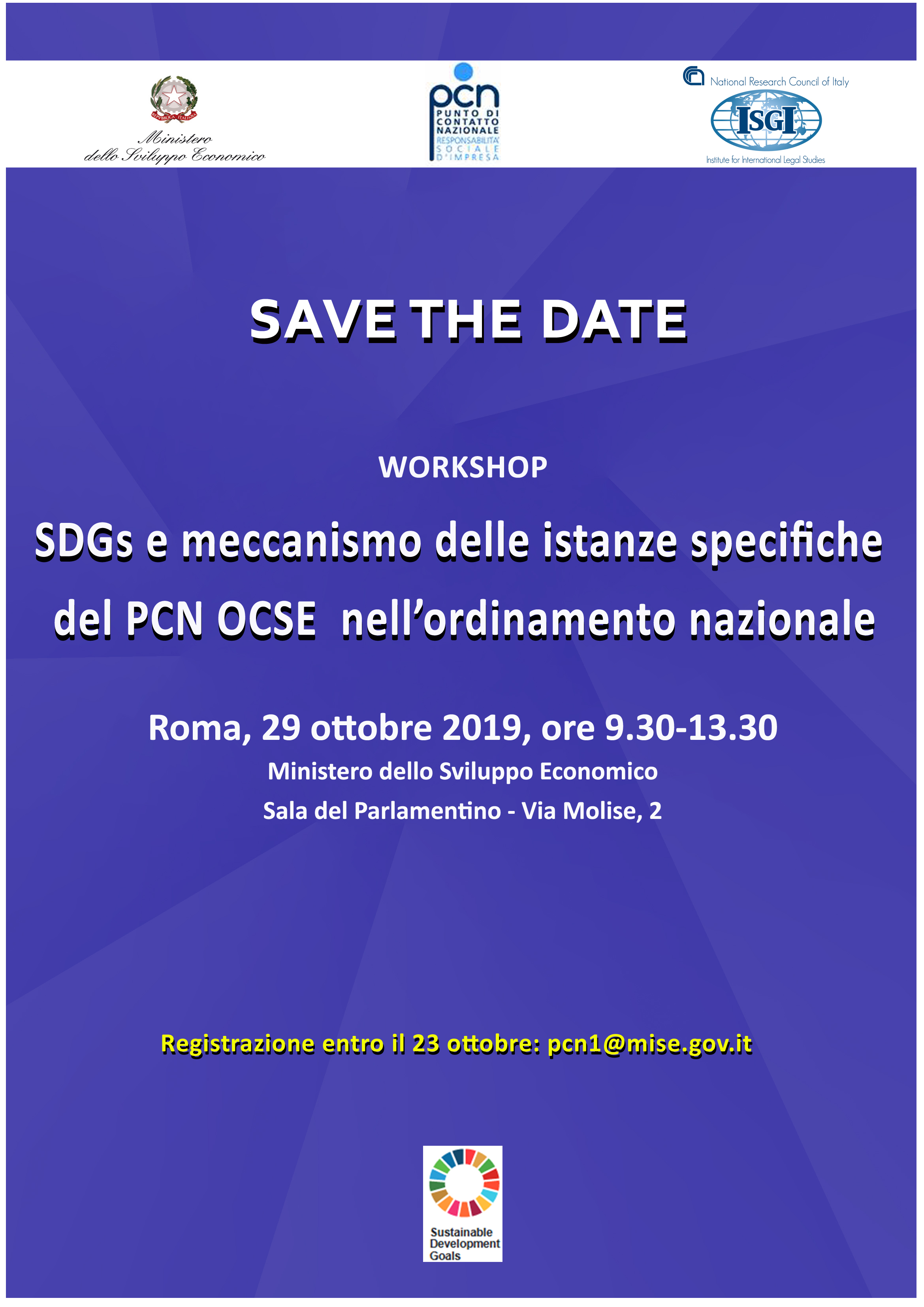 """Workshop """"SDGs e meccanismo delle istanze specifiche del PCN OCSE nell'ordinamento nazionale"""" 29 ottobre 2019, Roma"""